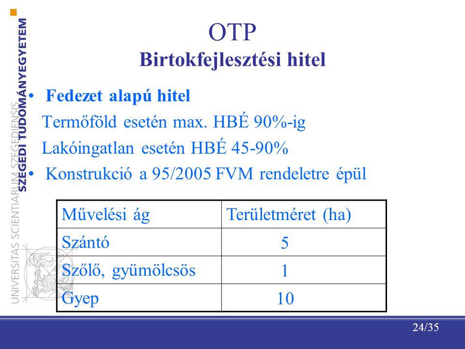 24/35 OTP Birtokfejlesztési hitel Fedezet alapú hitel Termőföld esetén max.