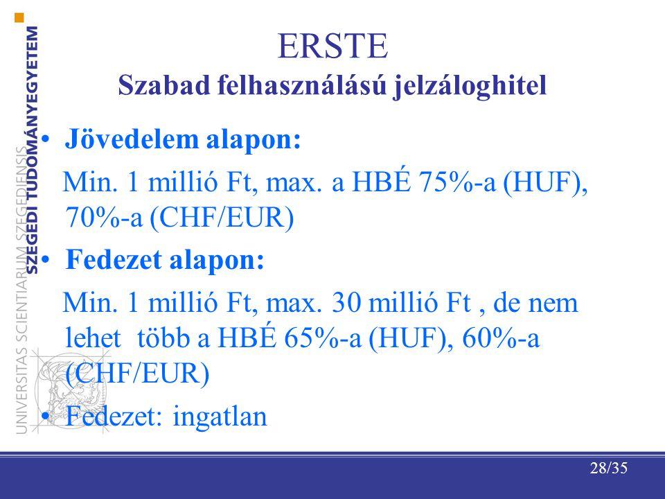 28/35 ERSTE Szabad felhasználású jelzáloghitel Jövedelem alapon: Min.