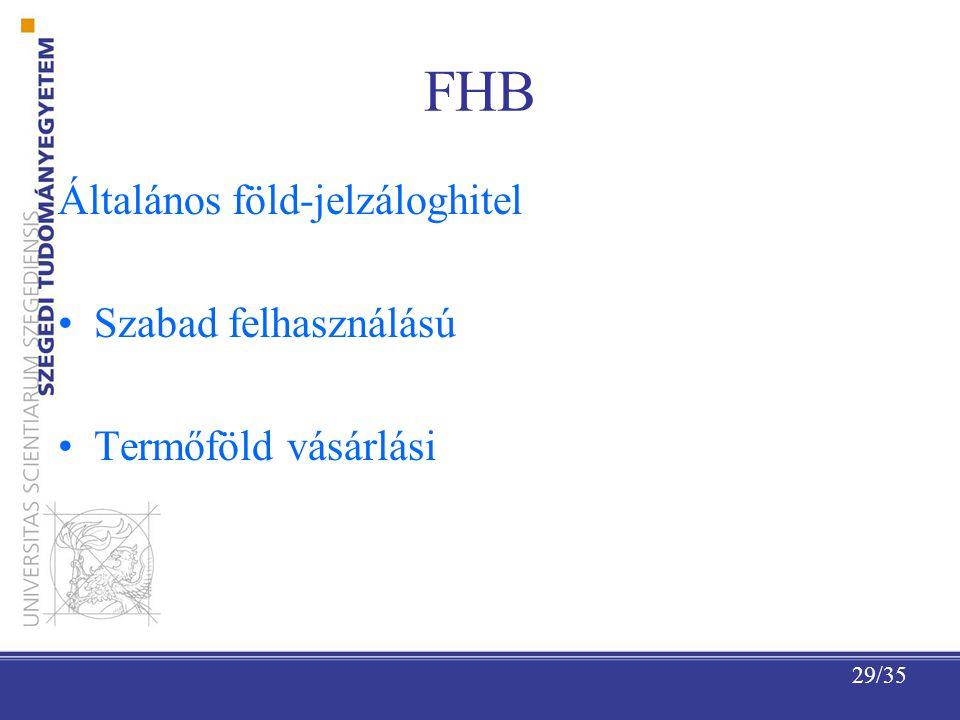29/35 FHB Általános föld-jelzáloghitel Szabad felhasználású Termőföld vásárlási