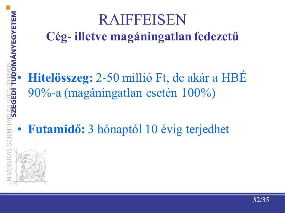 32/35 RAIFFEISEN Cég- illetve magáningatlan fedezetű Hitelösszeg: 2-50 millió Ft, de akár a HBÉ 90%-a (magáningatlan esetén 100%) Futamidő: 3 hónaptól 10 évig terjedhet