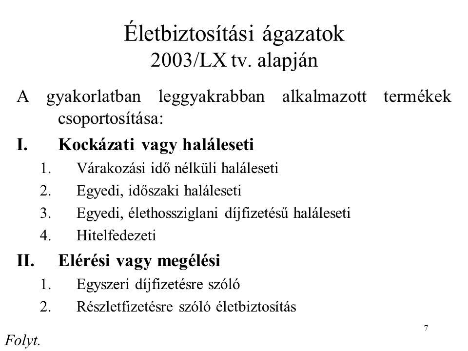 7 Életbiztosítási ágazatok 2003/LX tv.