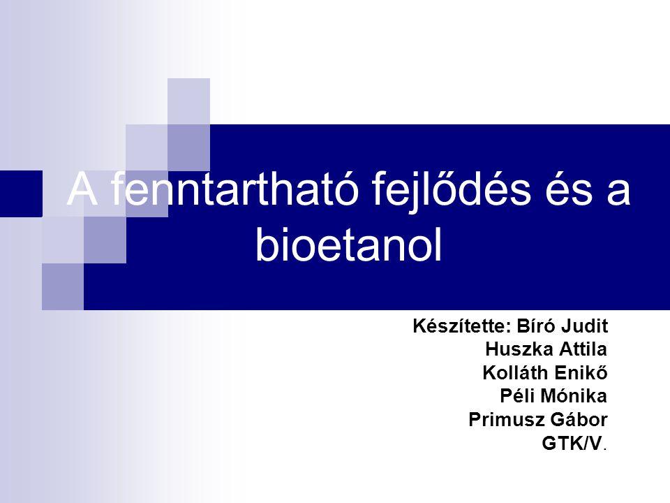 A fenntartható fejlődés és a bioetanol Készítette: Bíró Judit Huszka Attila Kolláth Enikő Péli Mónika Primusz Gábor GTK/V.