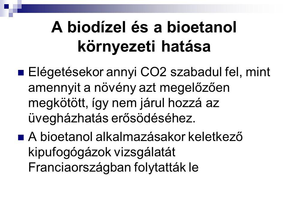 A biodízel és a bioetanol környezeti hatása Elégetésekor annyi CO2 szabadul fel, mint amennyit a növény azt megelőzően megkötött, így nem járul hozzá