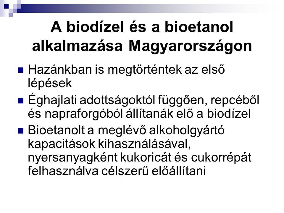 A biodízel és a bioetanol alkalmazása Magyarországon Hazánkban is megtörténtek az első lépések Éghajlati adottságoktól függően, repcéből és napraforgó
