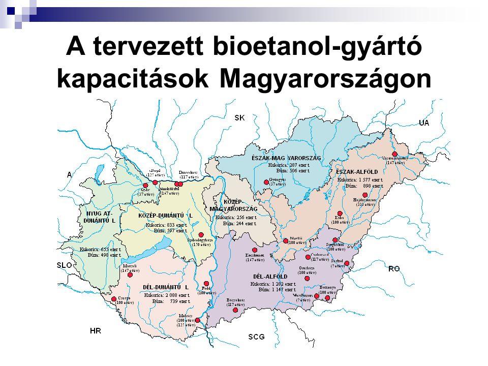 A tervezett bioetanol-gyártó kapacitások Magyarországon