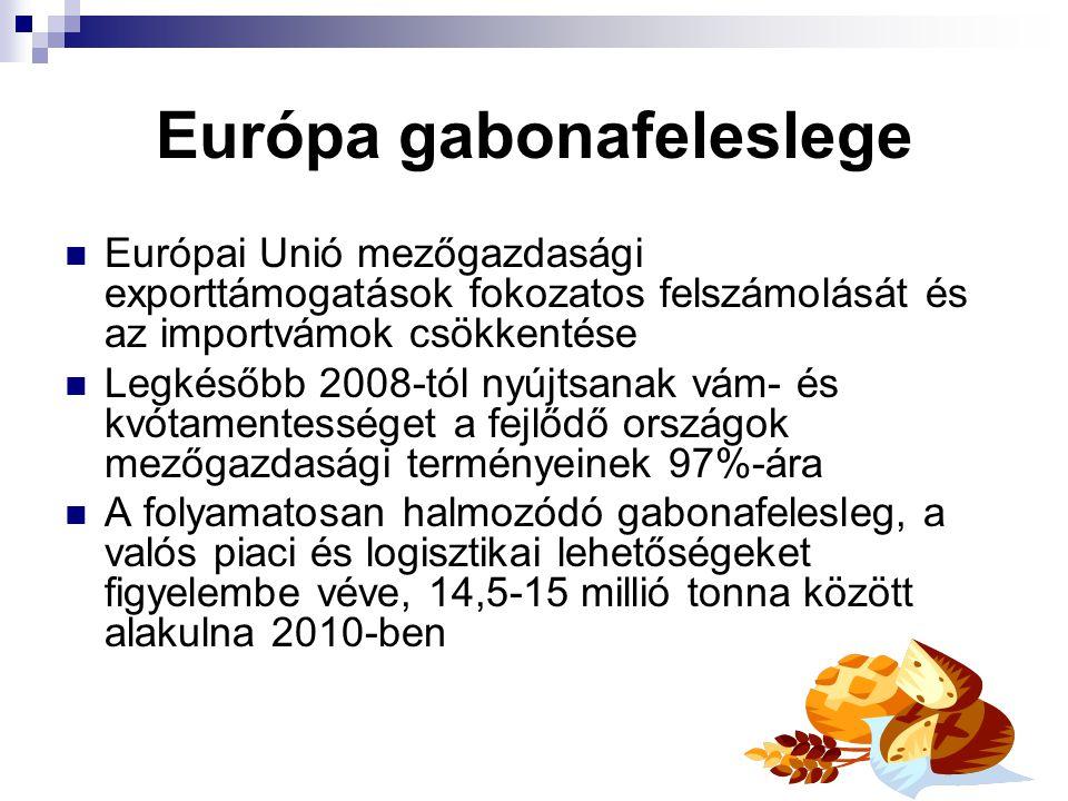 Európa gabonafeleslege Európai Unió mezőgazdasági exporttámogatások fokozatos felszámolását és az importvámok csökkentése Legkésőbb 2008-tól nyújtsana