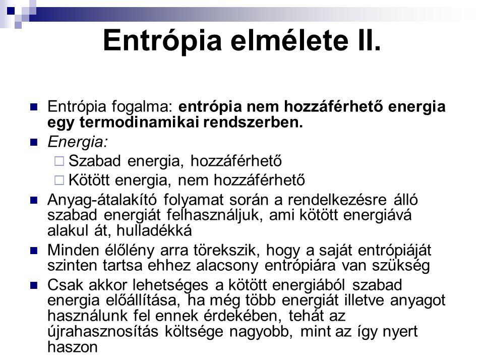 Entrópia elmélete II. Entrópia fogalma: entrópia nem hozzáférhető energia egy termodinamikai rendszerben. Energia:  Szabad energia, hozzáférhető  Kö