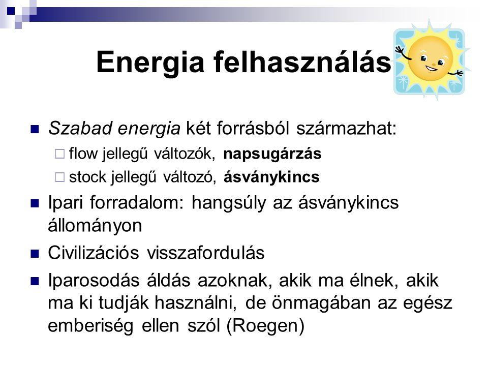Energia felhasználás Szabad energia két forrásból származhat:  flow jellegű változók, napsugárzás  stock jellegű változó, ásványkincs Ipari forradal