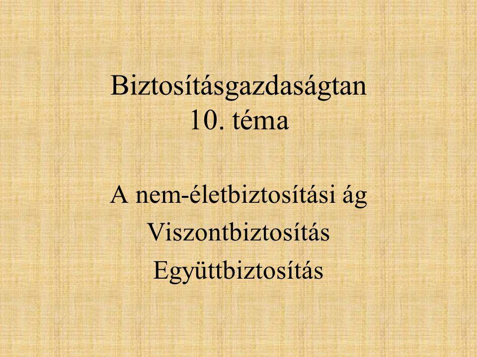 Biztosításgazdaságtan 10. téma A nem-életbiztosítási ág Viszontbiztosítás Együttbiztosítás