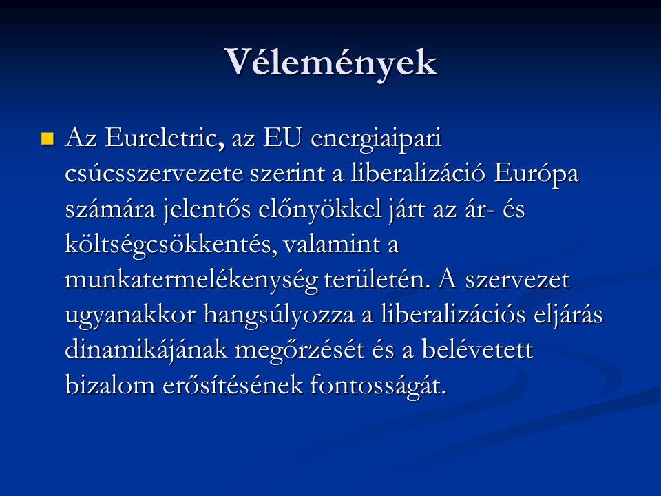 Vélemények Az Eureletric, az EU energiaipari csúcsszervezete szerint a liberalizáció Európa számára jelentős előnyökkel járt az ár- és költségcsökkent