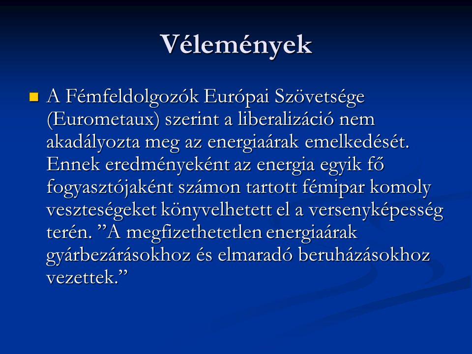 Vélemények A Fémfeldolgozók Európai Szövetsége (Eurometaux) szerint a liberalizáció nem akadályozta meg az energiaárak emelkedését. Ennek eredményekén