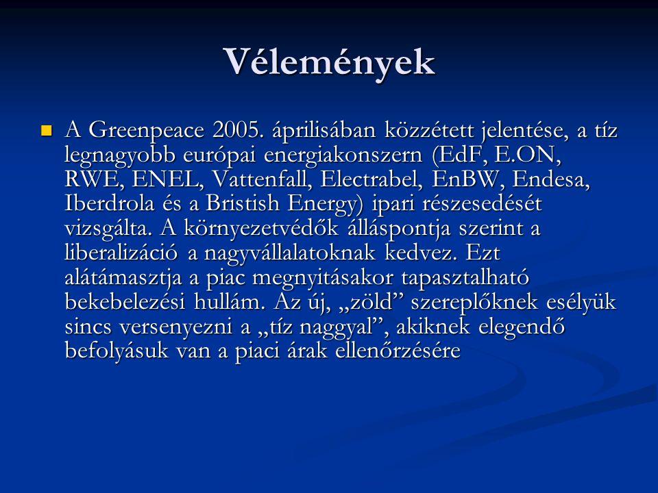Vélemények A Greenpeace 2005. áprilisában közzétett jelentése, a tíz legnagyobb európai energiakonszern (EdF, E.ON, RWE, ENEL, Vattenfall, Electrabel,