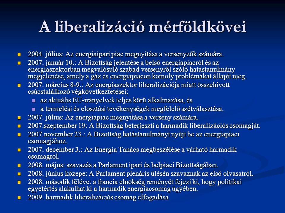A liberalizáció mérföldkövei 2004. július: Az energiaipari piac megnyitása a versenyzők számára. 2004. július: Az energiaipari piac megnyitása a verse