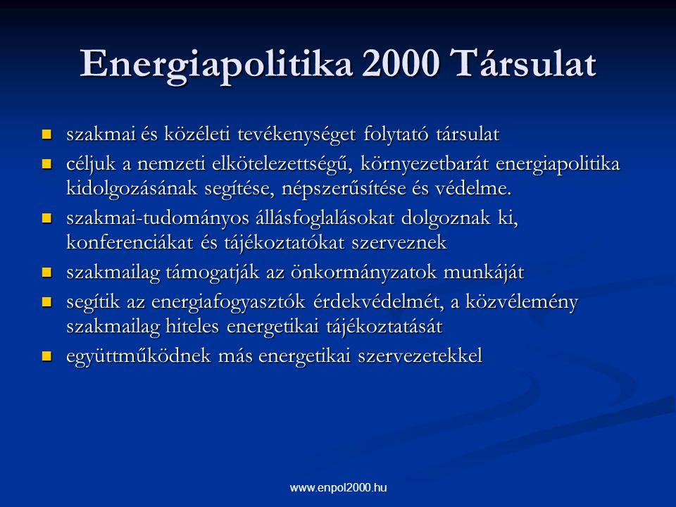 www.enpol2000.hu Energiapolitika 2000 Társulat szakmai és közéleti tevékenységet folytató társulat szakmai és közéleti tevékenységet folytató társulat
