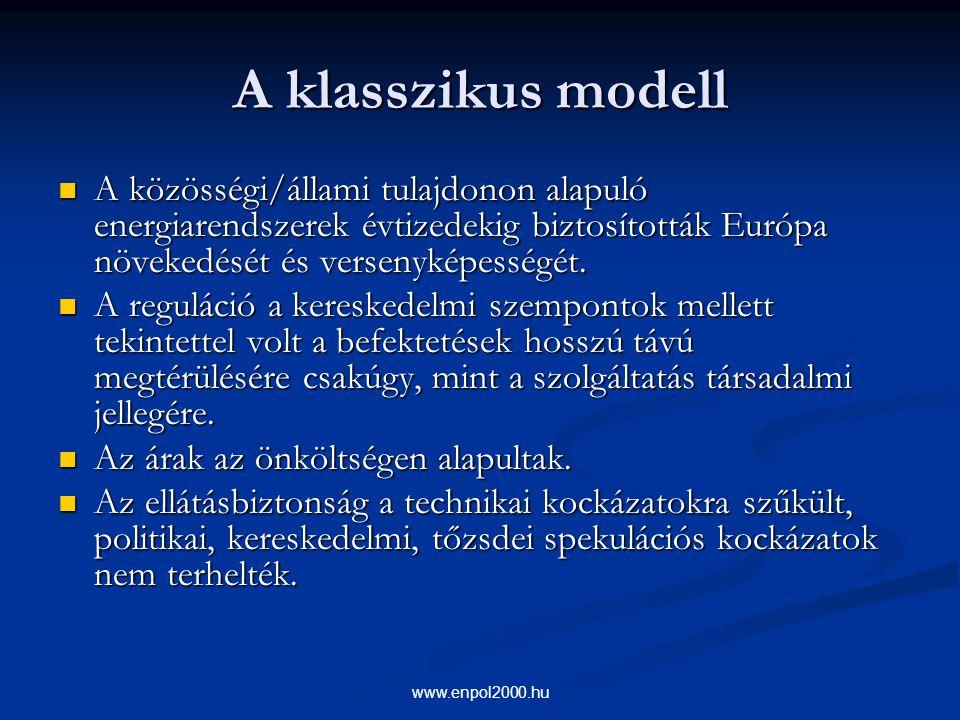 www.enpol2000.hu A klasszikus modell A közösségi/állami tulajdonon alapuló energiarendszerek évtizedekig biztosították Európa növekedését és versenyké