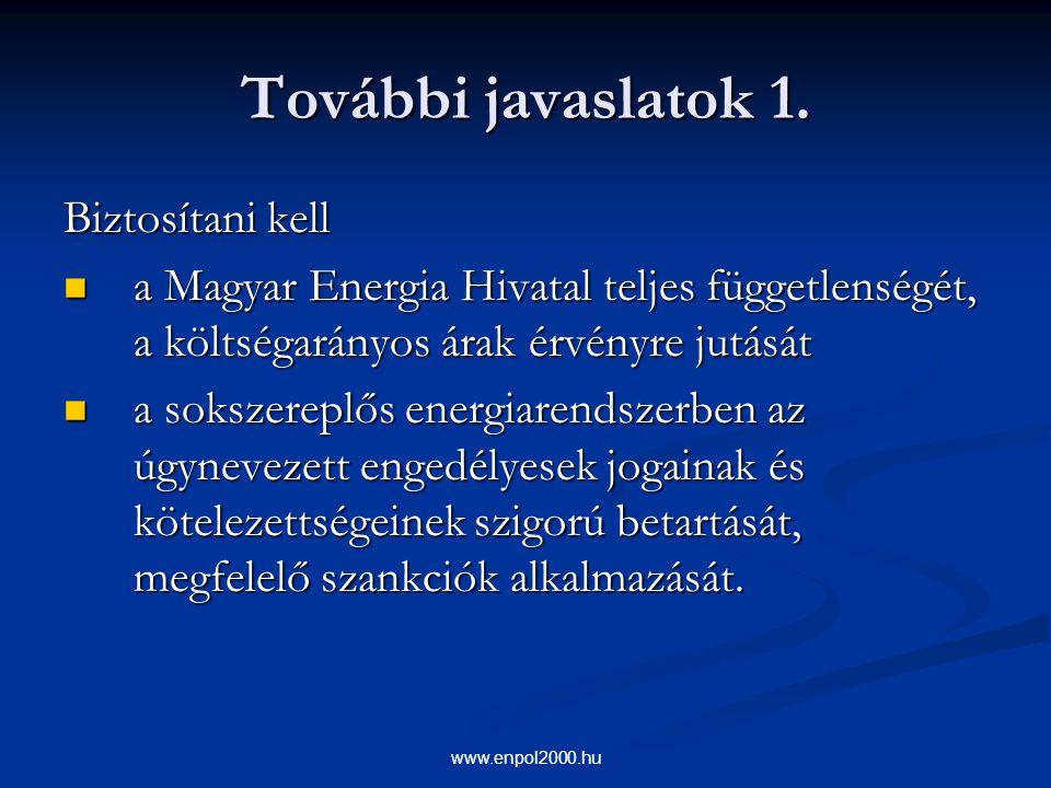 www.enpol2000.hu További javaslatok 1. Biztosítani kell a Magyar Energia Hivatal teljes függetlenségét, a költségarányos árak érvényre jutását a Magya
