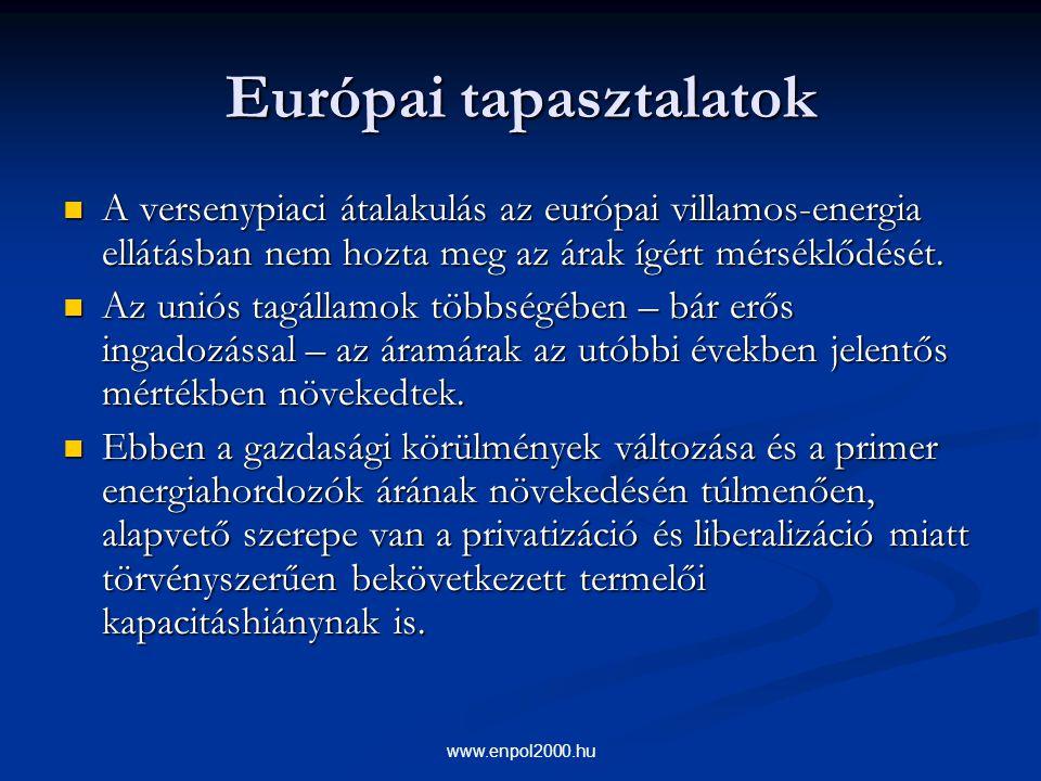 www.enpol2000.hu Európai tapasztalatok A versenypiaci átalakulás az európai villamos-energia ellátásban nem hozta meg az árak ígért mérséklődését. A v