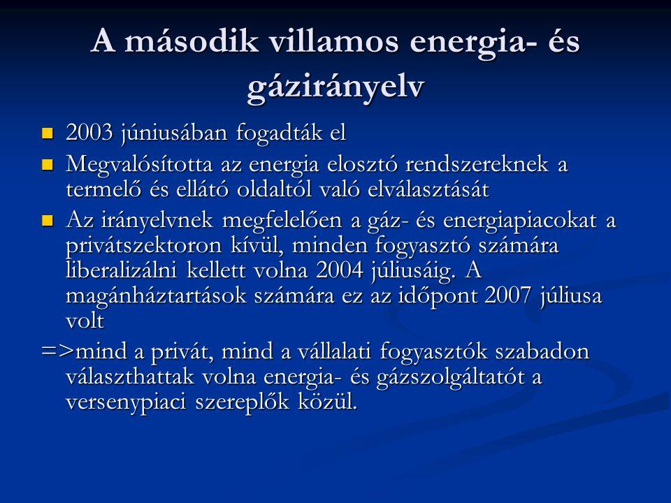 A második villamos energia- és gázirányelv 2003 júniusában fogadták el 2003 júniusában fogadták el Megvalósította az energia elosztó rendszereknek a t