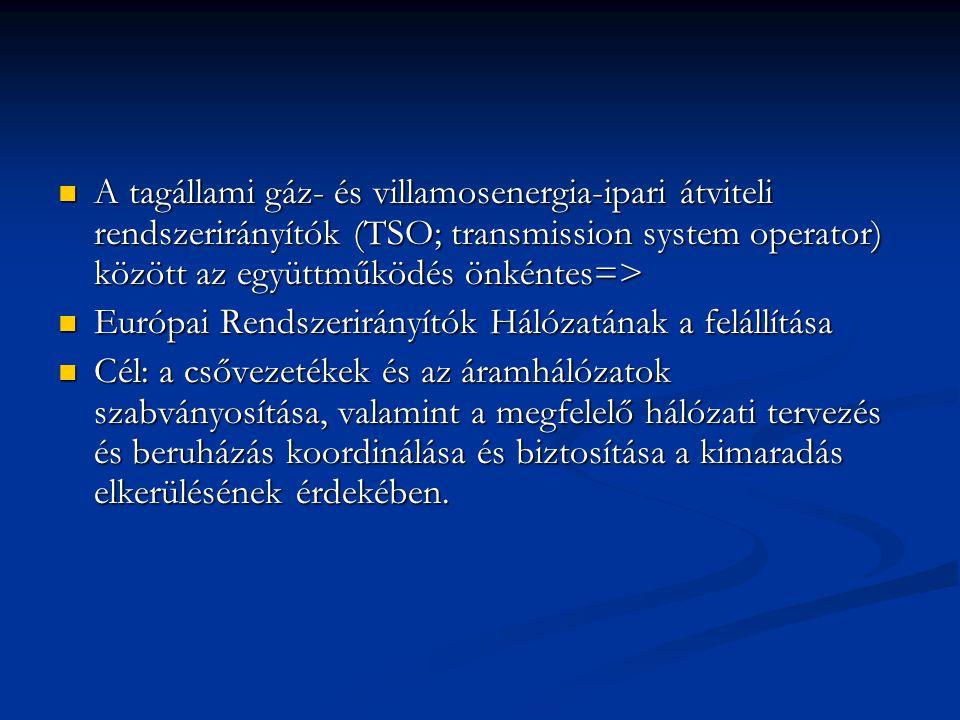 A tagállami gáz- és villamosenergia-ipari átviteli rendszerirányítók (TSO; transmission system operator) között az együttműködés önkéntes=> A tagállam