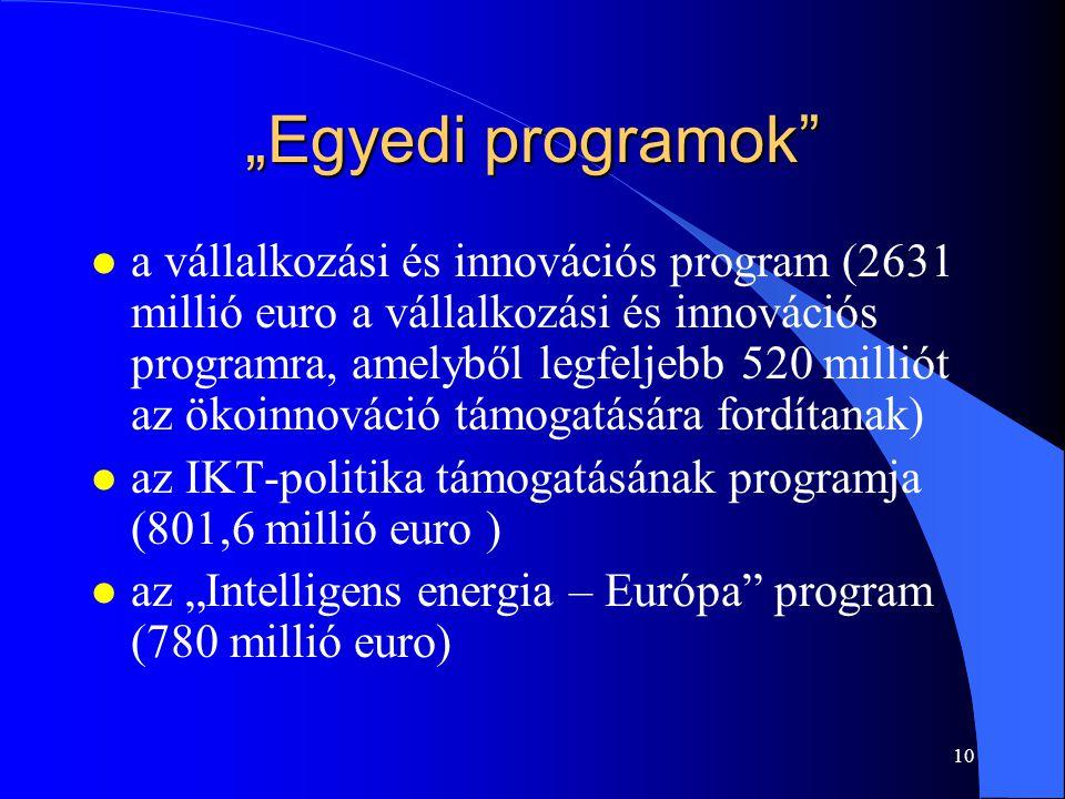 """10 """"Egyedi programok"""" l a vállalkozási és innovációs program (2631 millió euro a vállalkozási és innovációs programra, amelyből legfeljebb 520 milliót"""