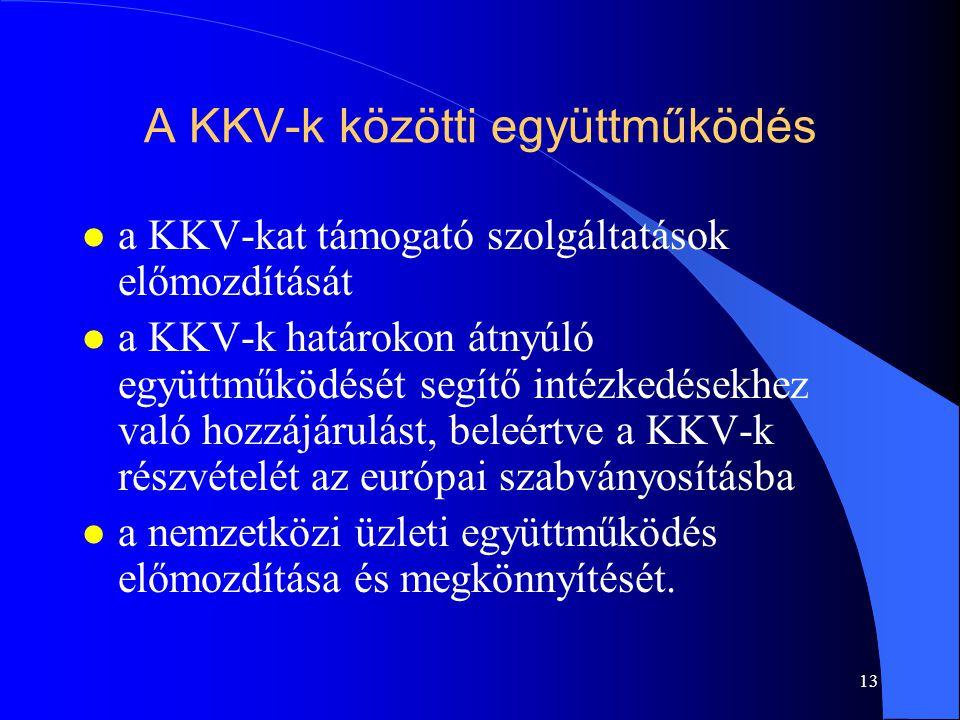 13 A KKV-k közötti együttműködés l a KKV-kat támogató szolgáltatások előmozdítását l a KKV-k határokon átnyúló együttműködését segítő intézkedésekhez