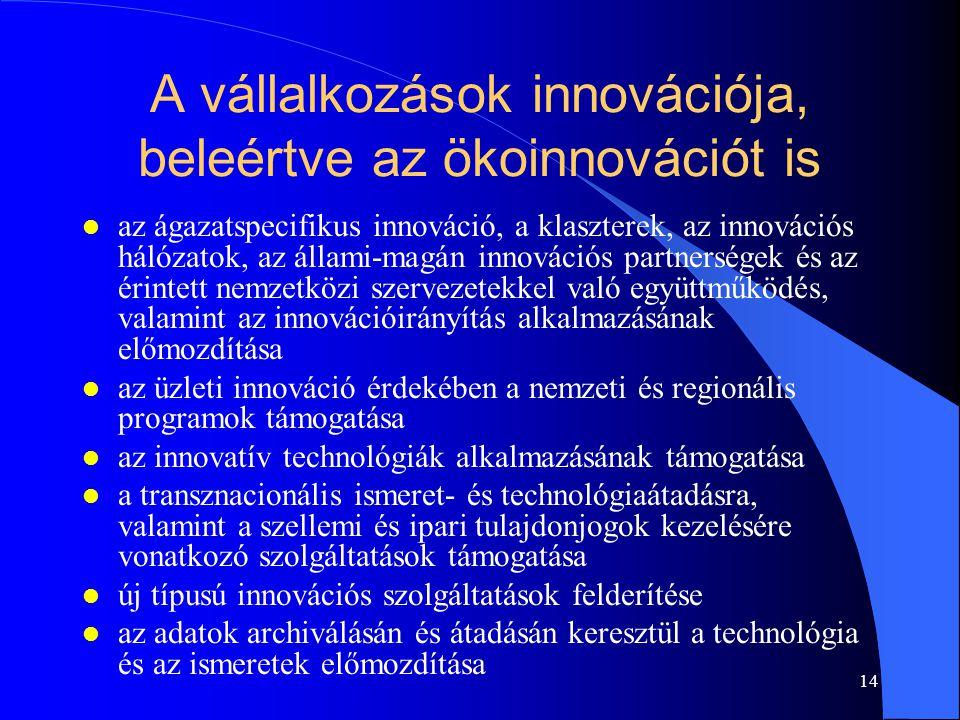 14 A vállalkozások innovációja, beleértve az ökoinnovációt is l az ágazatspecifikus innováció, a klaszterek, az innovációs hálózatok, az állami-magán