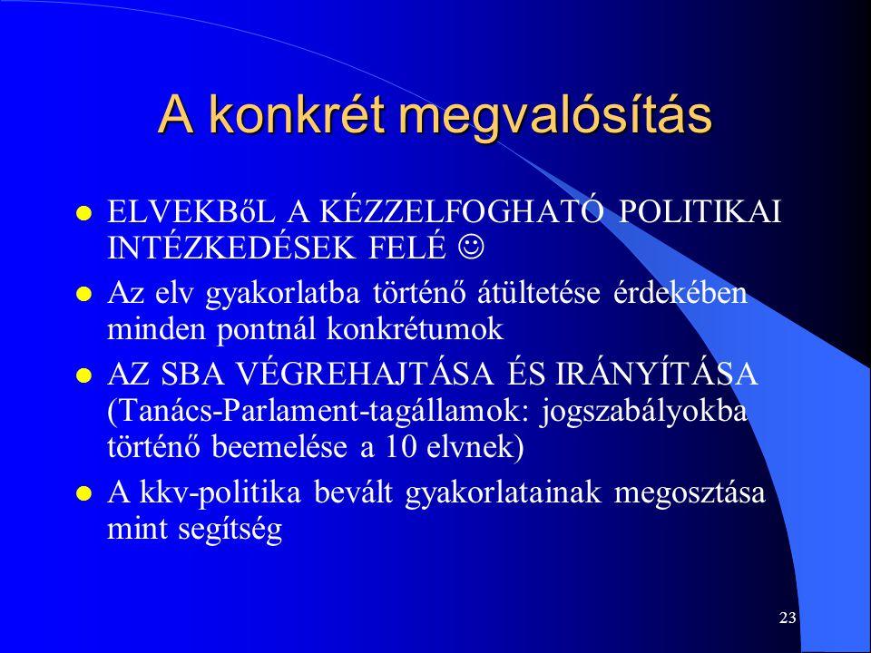 23 A konkrét megvalósítás l ELVEKBőL A KÉZZELFOGHATÓ POLITIKAI INTÉZKEDÉSEK FELÉ l Az elv gyakorlatba történő átültetése érdekében minden pontnál konk