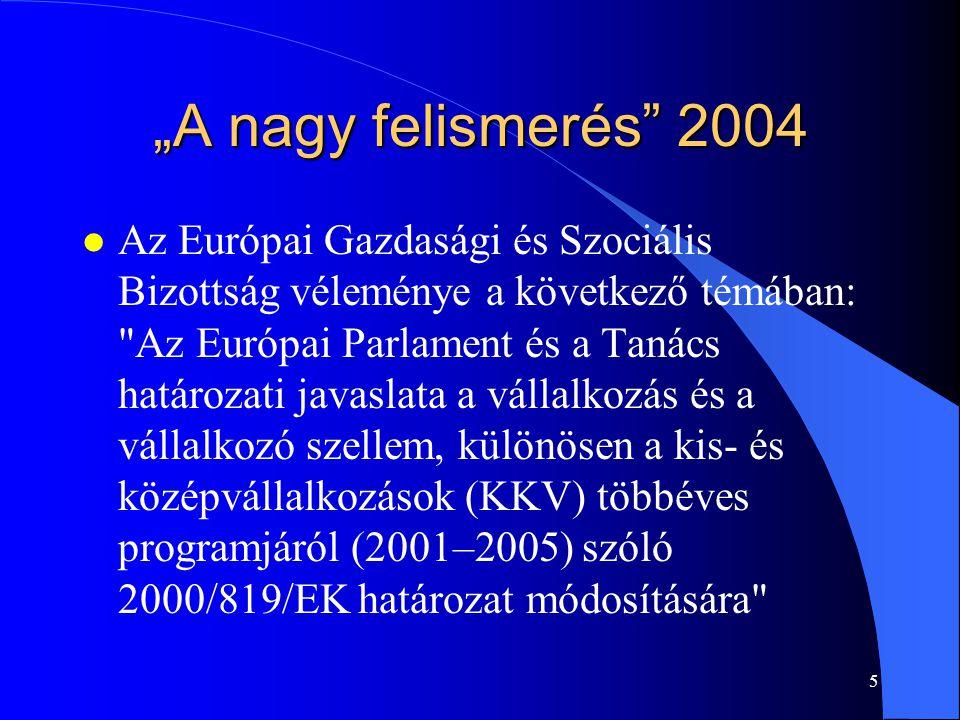 """5 """"A nagy felismerés"""" 2004 l Az Európai Gazdasági és Szociális Bizottság véleménye a következő témában:"""