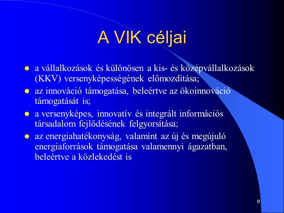 9 A VIK céljai l a vállalkozások és különösen a kis- és középvállalkozások (KKV) versenyképességének előmozdítása; l az innováció támogatása, beleértv