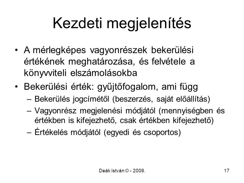 Deák István © - 2009.17 Kezdeti megjelenítés A mérlegképes vagyonrészek bekerülési értékének meghatározása, és felvétele a könyvviteli elszámolásokba