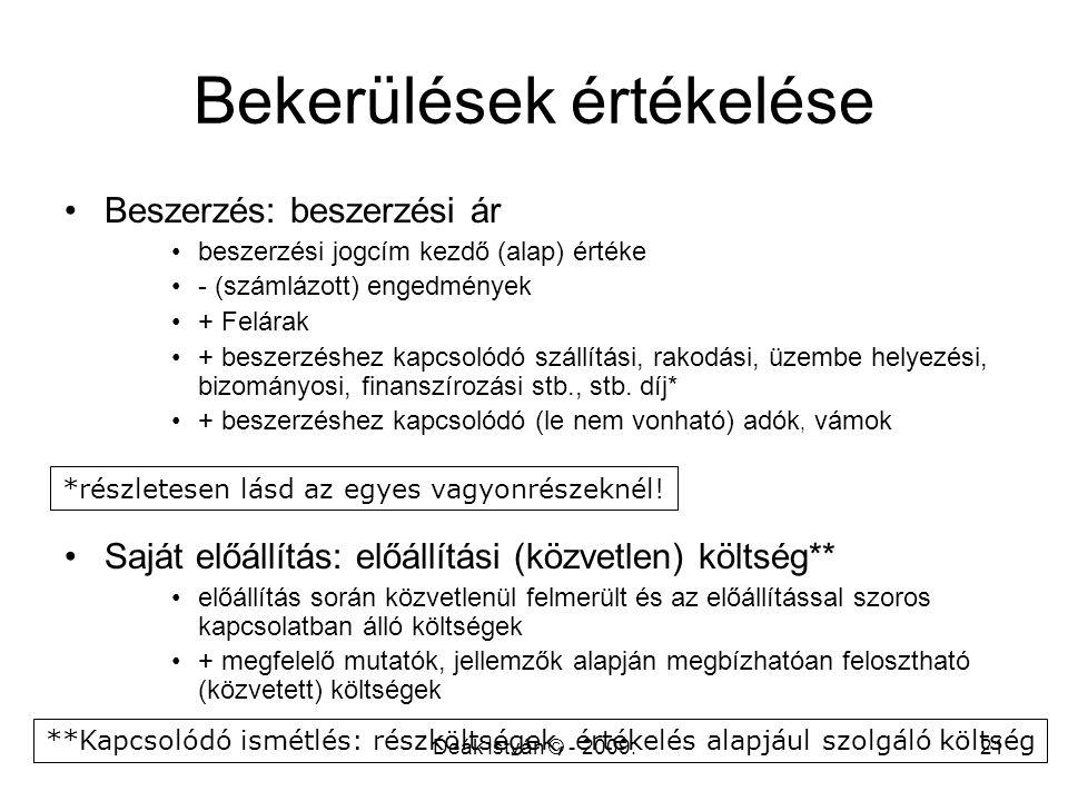 Deák István © - 2009.21 Bekerülések értékelése Beszerzés: beszerzési ár beszerzési jogcím kezdő (alap) értéke - (számlázott) engedmények + Felárak + b