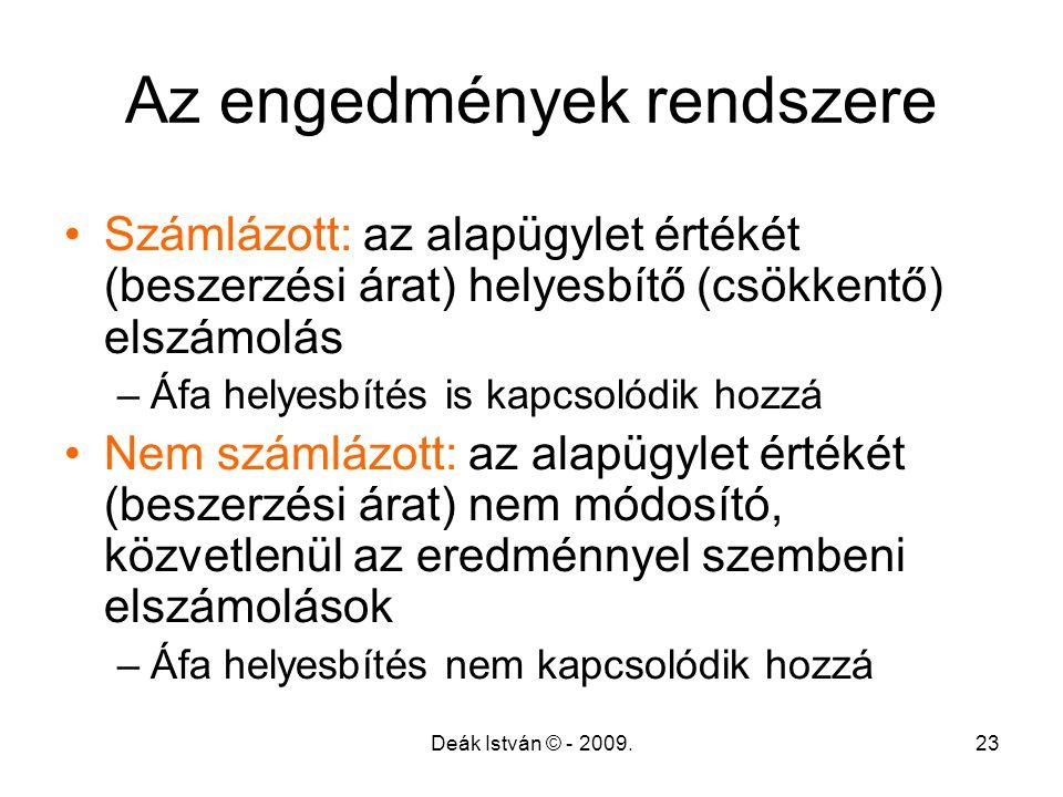 Deák István © - 2009.23 Az engedmények rendszere Számlázott: az alapügylet értékét (beszerzési árat) helyesbítő (csökkentő) elszámolás –Áfa helyesbíté