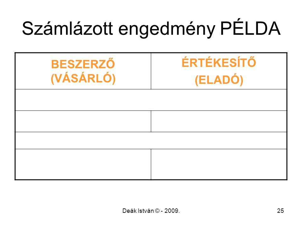 Deák István © - 2009.25 Számlázott engedmény PÉLDA BESZERZŐ (VÁSÁRLÓ) ÉRTÉKESÍTŐ (ELADÓ)
