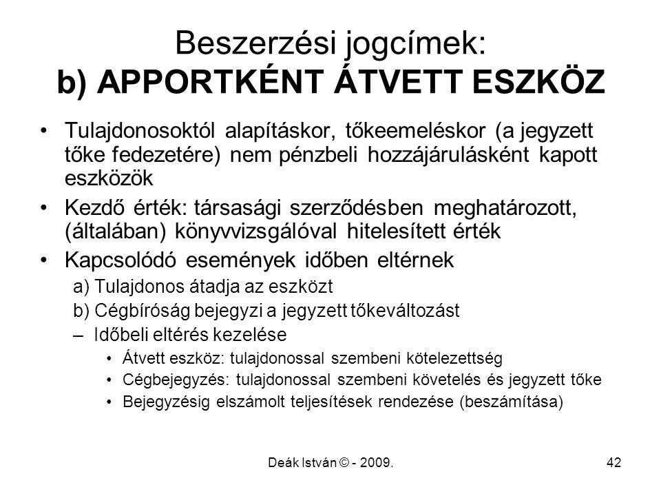 Deák István © - 2009.42 Beszerzési jogcímek: b) APPORTKÉNT ÁTVETT ESZKÖZ Tulajdonosoktól alapításkor, tőkeemeléskor (a jegyzett tőke fedezetére) nem p