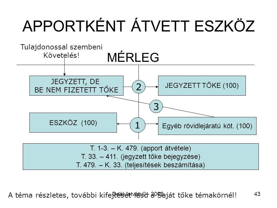 Deák István © - 2009.43 APPORTKÉNT ÁTVETT ESZKÖZ MÉRLEG ESZKÖZ (100) JEGYZETT TŐKE (100) Egyéb rövidlejáratú köt. (100) T. 1-3. – K. 479. (apport átvé