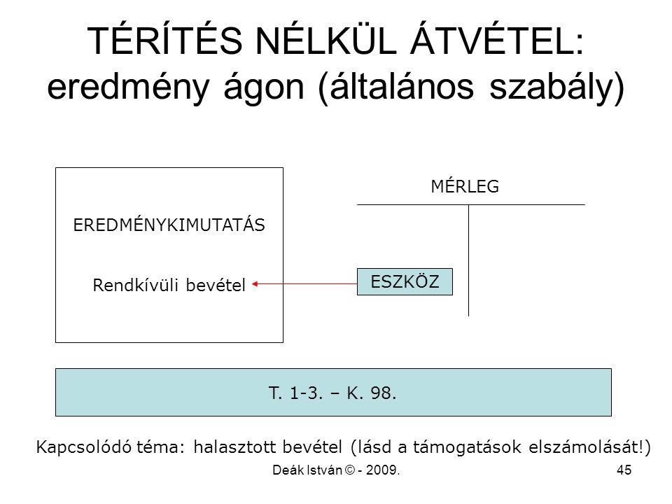Deák István © - 2009.45 TÉRÍTÉS NÉLKÜL ÁTVÉTEL: eredmény ágon (általános szabály) EREDMÉNYKIMUTATÁS Rendkívüli bevétel ESZKÖZ T. 1-3. – K. 98. MÉRLEG