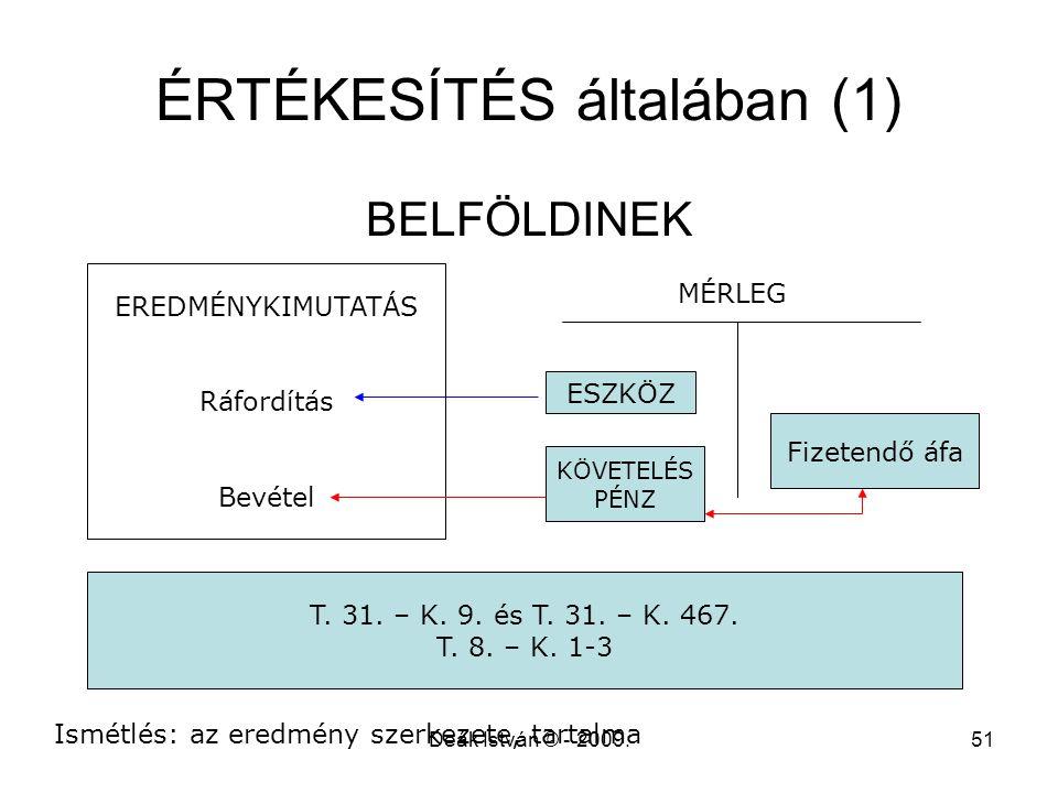 Deák István © - 2009.51 ÉRTÉKESÍTÉS általában (1) BELFÖLDINEK EREDMÉNYKIMUTATÁS Ráfordítás Bevétel ESZKÖZ Fizetendő áfa T. 31. – K. 9. és T. 31. – K.
