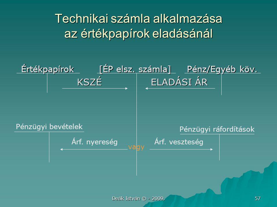 Deák István © - 2009. 57 Technikai számla alkalmazása az értékpapírok eladásánál Értékpapírok [ÉP elsz. számla] Pénz/Egyéb köv. Értékpapírok [ÉP elsz.