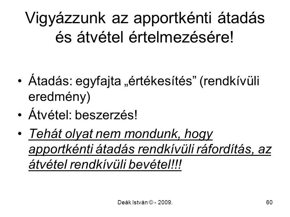 """Deák István © - 2009.60 Vigyázzunk az apportkénti átadás és átvétel értelmezésére! Átadás: egyfajta """"értékesítés"""" (rendkívüli eredmény) Átvétel: besze"""