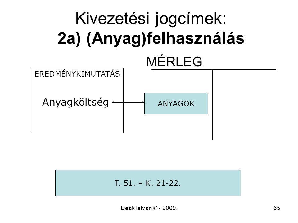 Deák István © - 2009.65 Kivezetési jogcímek: 2a) (Anyag)felhasználás MÉRLEG EREDMÉNYKIMUTATÁS Anyagköltség ANYAGOK T. 51. – K. 21-22.