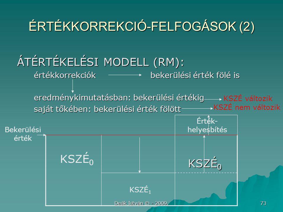 Deák István © - 2009. 73 ÉRTÉKKORREKCIÓ-FELFOGÁSOK (2) ÁTÉRTÉKELÉSI MODELL (RM): értékkorrekciók bekerülési érték fölé is értékkorrekciók bekerülési é
