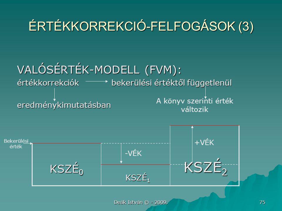Deák István © - 2009. 75 ÉRTÉKKORREKCIÓ-FELFOGÁSOK (3) VALÓSÉRTÉK-MODELL (FVM): értékkorrekciók bekerülési értéktől függetlenül eredménykimutatásban K