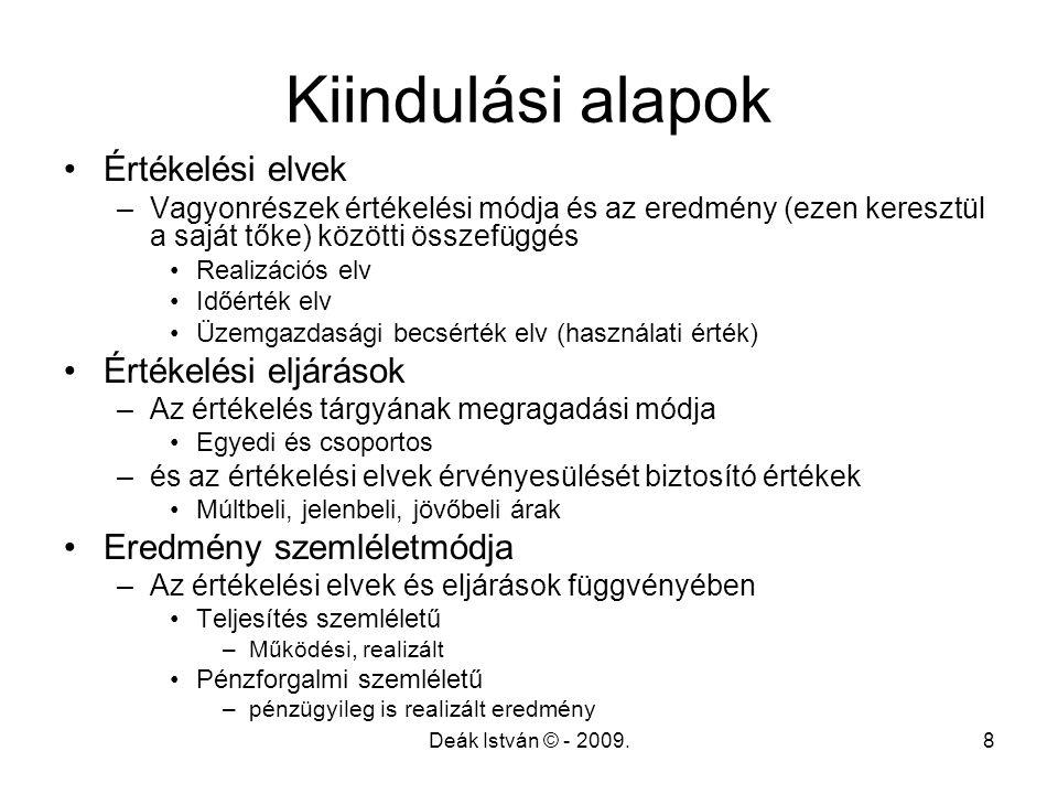 Deák István © - 2009.8 Kiindulási alapok Értékelési elvek –Vagyonrészek értékelési módja és az eredmény (ezen keresztül a saját tőke) közötti összefüg