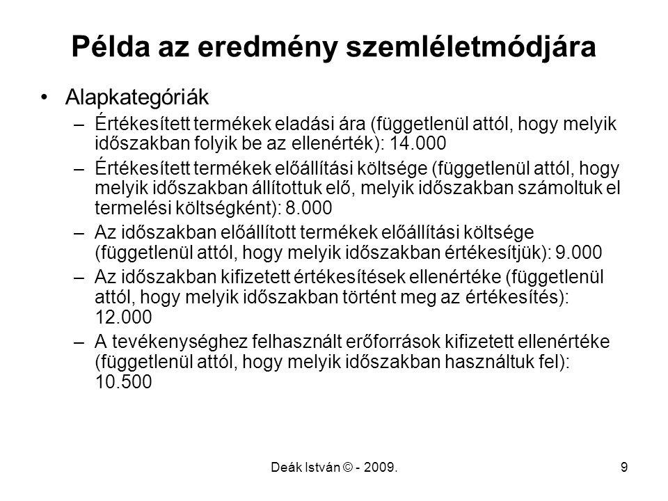 Deák István © - 2009.9 Példa az eredmény szemléletmódjára Alapkategóriák –Értékesített termékek eladási ára (függetlenül attól, hogy melyik időszakban