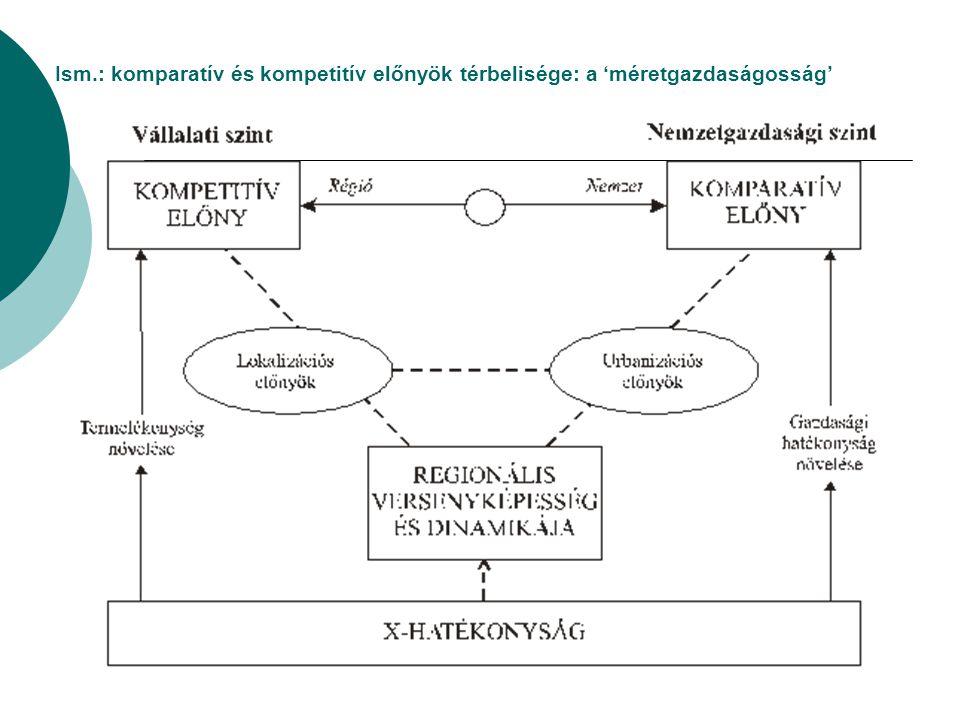 Ism.: komparatív és kompetitív előnyök térbelisége: a 'méretgazdaságosság'