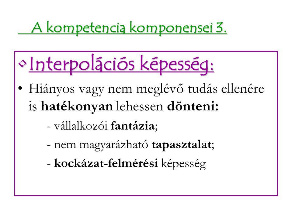 A kompetencia komponensei 3. A kompetencia komponensei 3. Interpolációs képesség:Interpolációs képesség: Hiányos vagy nem meglévő tudás ellenére is ha