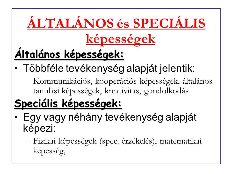 ÁLTALÁNOS és SPECIÁLIS képességek Általános képességek: Többféle tevékenység alapját jelentik: –Kommunikációs, kooperációs képességek, általános tanul