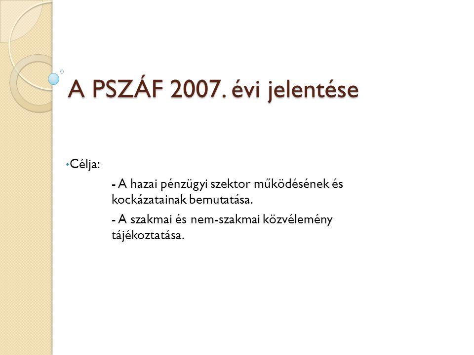 A PSZÁF 2007. évi jelentése Célja: - A hazai pénzügyi szektor működésének és kockázatainak bemutatása. - A szakmai és nem-szakmai közvélemény tájékozt