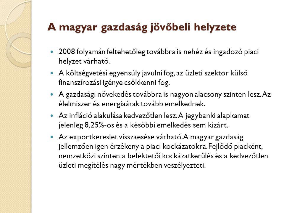 A magyar gazdaság jövőbeli helyzete 2008 folyamán feltehetőleg továbbra is nehéz és ingadozó piaci helyzet várható. A költségvetési egyensúly javulni