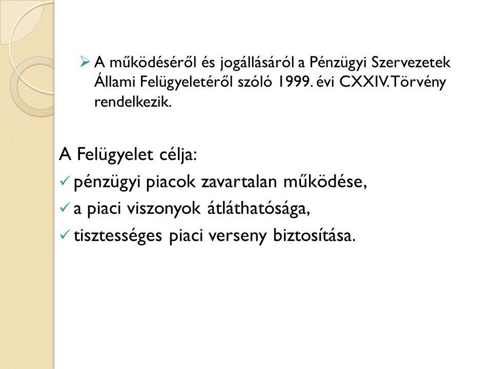 A működéséről és jogállásáról a Pénzügyi Szervezetek Állami Felügyeletéről szóló 1999. évi CXXIV. Törvény rendelkezik. A Felügyelet célja: pénzügyi